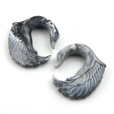 Pair of Acrylic Marbled Swan Wing Bird Design Ear Hook Taper Plugs Gauges