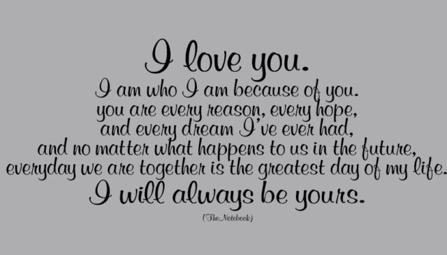 I LOVE YOU / ALWAYS BE YOURS / THE NOTEBOOK QUOTE WALL DECAL sticker ROMANTIC