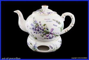 teekanne inkl st vchen lavendel porzellan goldrand geschenk blumen kanne tee ebay. Black Bedroom Furniture Sets. Home Design Ideas