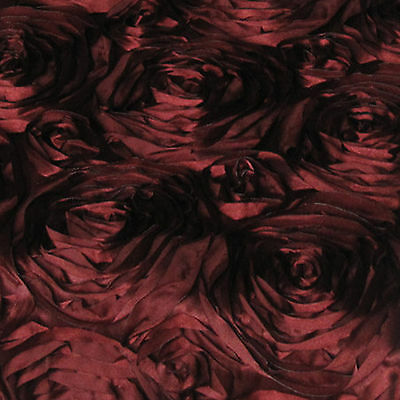 15ft Grandiose Rose Rosette Satin Fabric 3D 22 Colors Large Splenda Satin Ribbon