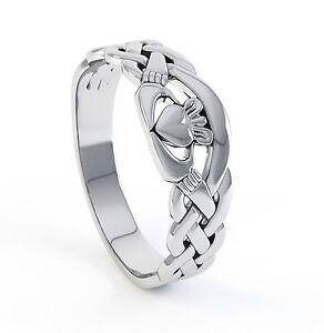 10k Carat White Gold Irish Handcrafted Genuine Irish Celtic Claddagh Design Ring