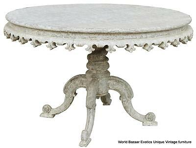 """49"""" Round Dining Table Solid Mahogany Wood White Weathered Finish Contemporary"""