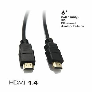 HDMI-Cable-6FT-1-4-For-Blu-Ray-3D-DVD-PS3-HDTV-XBOX-LCD-HD-TV-1080P-Ethernet-CA