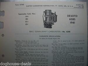 1941-41-DESOTO-628S-CARTER-CARBURETOR-SERVICE-PROCEDURES-BBR-DOWNDRAFT-CARB