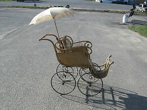 VICTORIAN-WICKER-PRAM-BABY-CARRIAGE-PARASOL-ANTIQUE-OLD-BUGGIE