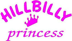 Pink Vinyl Decal Hillbilly Princess Crown Country Girl Truck Fun Sticker