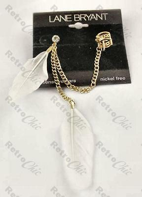FEATHER EAR CUFF crystal PUNK chain gold plated FEATHERS earcuff earrings