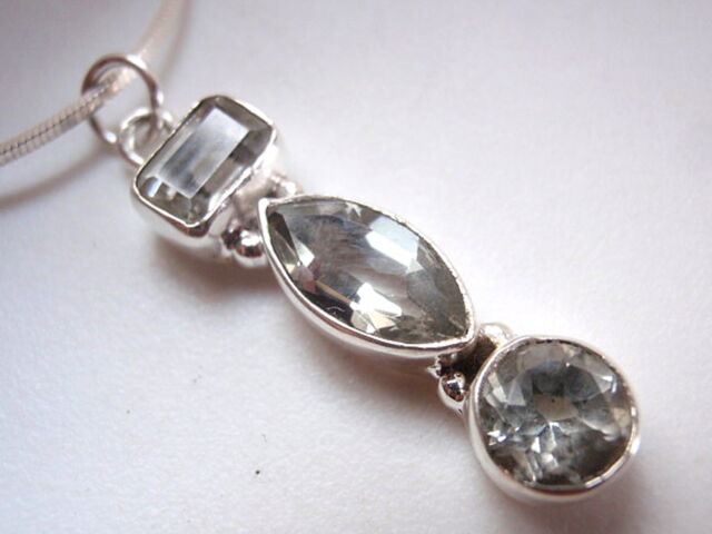 Faceted Green Amethyst  925 Sterling Silver Necklace Marquise Baguette Round New
