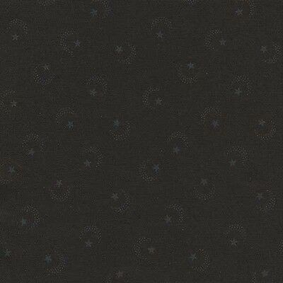 DARK ILLUSIONS STARS MOONS ON BLACK Cotton Fabric BTY for Quilting, Craft, Etc