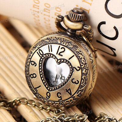 NEW Antique Vintage Bronze Heart Pendant Quartz Watch Chain Necklace Gift