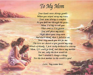 TO MY MOM PERSONALIZED ART POEM MEMORY BIRTHDAY MOTHER'S DAY GIFT ...
