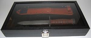 Wood-Glass-Top-Gun-Knife-Collectors-Display-Case-w-Black-Padded-Velvet-Insert-S1