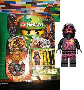 LEGO-9572-Ninjago-NRG-COLE-Black-Ninja-Minifigure-w-Spinner-Weapons-Cards