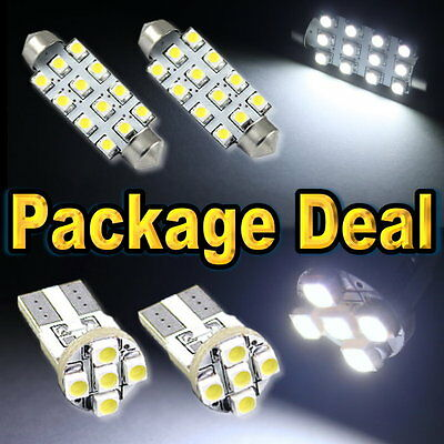 """6 White Led Lights For Map 1.72""""+ Dome 1.72"""" + Licence Plate Interior Package 12"""