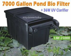 New 7000 gallon water garden koi fish pond bio filter w for Best uv filter for small pond