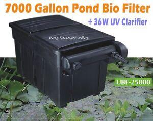 New 7000 gallon water garden koi fish pond bio filter w for Pond bio filter with uv