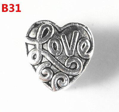 10pc Tibetan Silver NEW Charms LOVE Spacer Beads Fit European Bracelet B31
