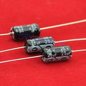 5pcs 25v 25uf Axial Electrolytic Capacitor For Audio