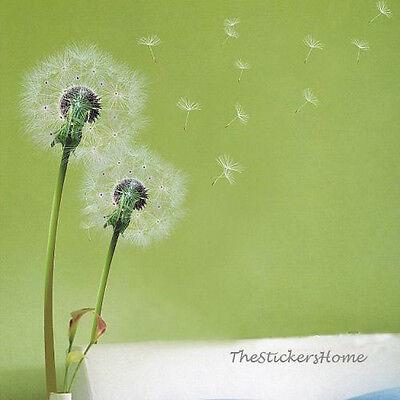 Light Green Dandelion Flowers Wall Stickers Vinyl Art Decal Wallpaper Home Decor