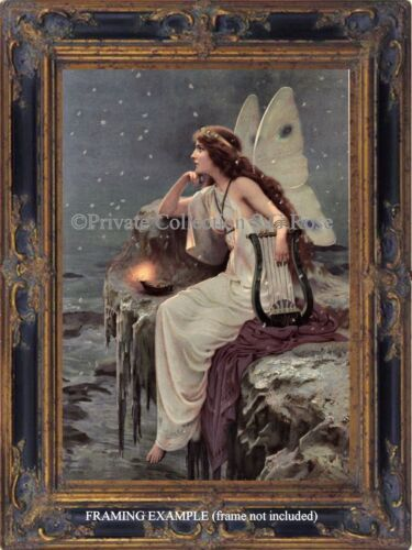 Art Nouveau Victorian FAIRY HARP MAGIC LAMP SEA CLIFF OCEAN Snowflakes ART PRINT