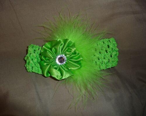 Satin Sateen Flower Gem Marabou Puff Feather Crochet Headband Hair Clip Bow NEW!