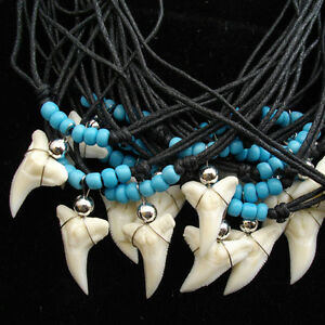 WHOLESALE-BULK-LOT-50-PCS-real-shark-tooth-glass-seed-beaded-cord-necklaces