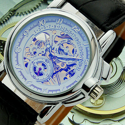 SH US Mens Wrist Watch Automatic Mechanical Hollow Leather Skeleton Sport HOT