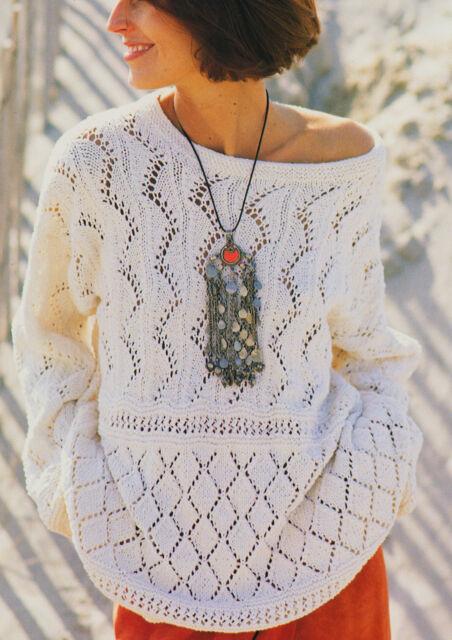 Lace Sampler Summer Sweater Knitting Pattern S-M-L in DK Cotton/Silk