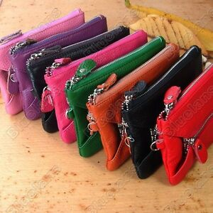 Real-Leather-Key-Chain-Purse-Wallet-Mini-Evening-Clutch-Wristlet-Bag-Cell-Phone