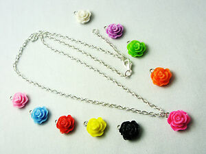 WOW-Stunning-A-Small-Rose-Flower-Charm-Pendant-Silver-Colour-Chain-Necklace