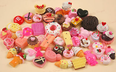 50 x BIG FEAST Cakes & Candy Resin Cabochons Beads Kawaii Decoden UK SELLER!