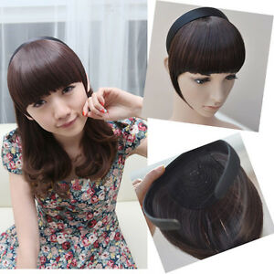 Womens synthetic headband front bangs neat side fringe clip in on image is loading womens synthetic headband front bangs neat side fringe pmusecretfo Image collections