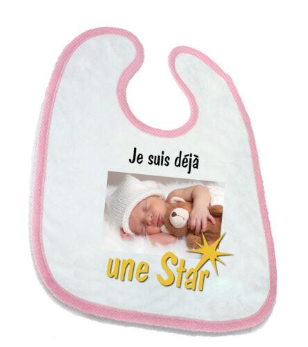 """Bavoir pour bébé  /""""déjà une star/"""" personnalisé avec photo"""