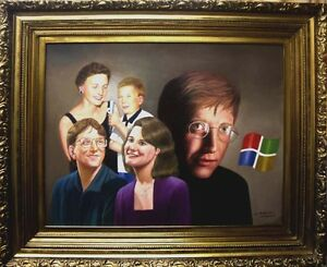 Original-Bill-Gates-Portrait-Authentic-Oil-Painting-on-Canvas-Awesome-Fine-Art