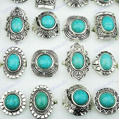 5pcs Wholesale jewerly lots Turquoise Tibet Silver Fashion Rings Freeshipping