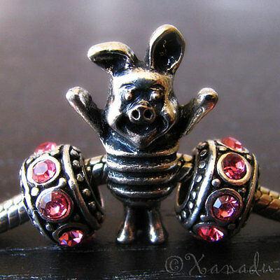 Piglet From Winnie The Pooh Charm And 2 Birthstone For European Charm Bracelets