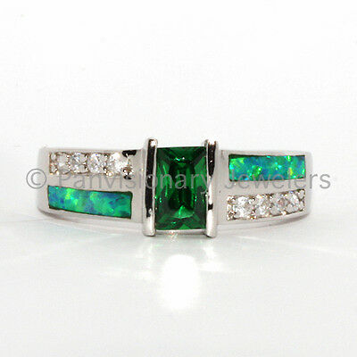 Emerald Opal Ring CZ w Clear C Z accents & Green with Blue Fire in .925 Sterling