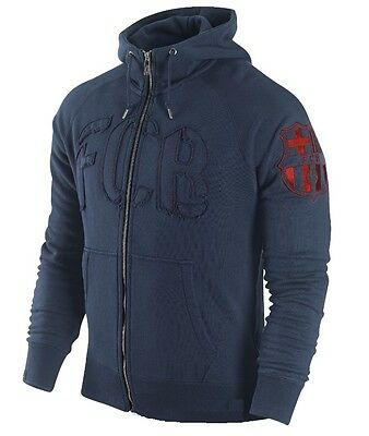 Nike FC Barcelona AW77 Authentic Hoodie Navy Blue Hooded Sweater Hoody Jacket