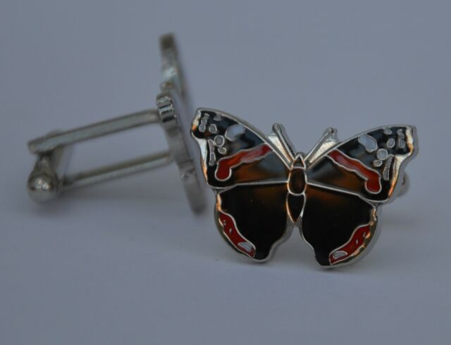 Red Admiral Butterfly Quality Enamel Cufflinks