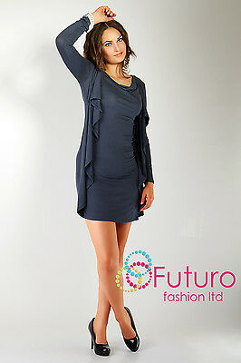 "Elegance Casual Dress with ""Wings"" Cowl Neck Long Sleeve Size 8-12 6404"