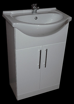 BATHROOM VANITY CUPBOARD UNIT CERAMIC SINK BASIN WC TOILET SUITE TAP WHITE GLOSS