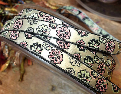 """FRENCH 3/8""""Jacquard TRIM Oriental Flowers 1yd RIBBON Made in France SATIN RAYON"""