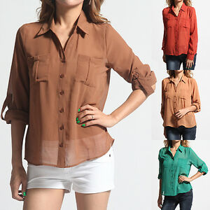 MOGAN-Breezy-Sheer-Chiffon-Long-Sleeve-HIGH-LOW-BLOUSE-Casual-Office-Shirts-Top