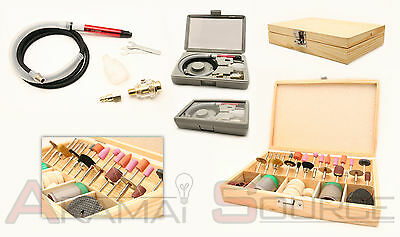 "101pc 1/8"" Micro Air Die Grinder Rotary Tool Kit Polisher Cutting Hobby Tools"