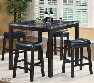 new 5pc sophia faux marble top black finish wood counter