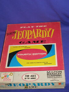 Vintage-Jeopardy-Game-Fourth-Edition-No-4457-by-Milton-Bradley-1964-Nice