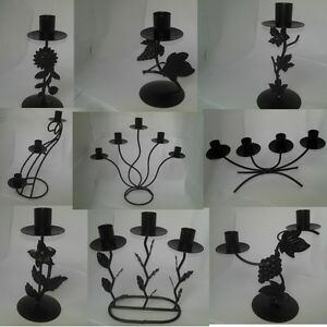 Black-ironwork-candle-holders-candelabras-multiple-designs-availiable