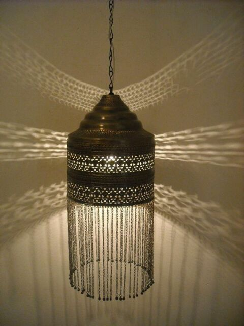 Moroccan oxidized Brass Pendant Light Lamp Lantern
