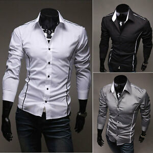New-Mens-Luxury-Casual-Slim-Fit-Stylish-Dress-Shirts-3-Colors-4-Size-FF0749