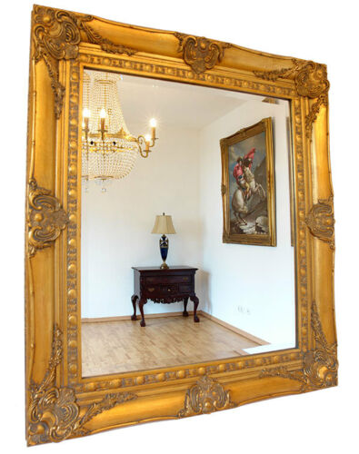 BAROQUE MIRROR FRENCH LOUIS XV STYLE ORNATE GOLD GILT WOODEN FRAME MANTEL WALL